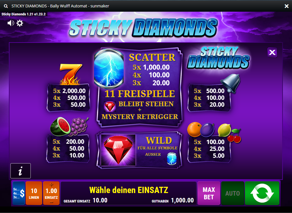 Sticky Diamonds Paytable