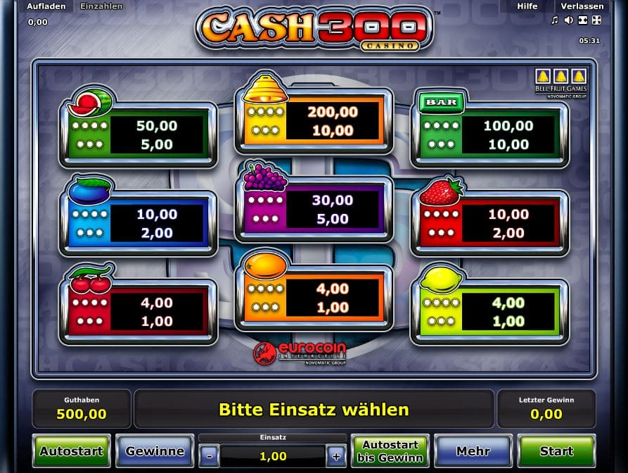 Cash 300 Casino Paytable