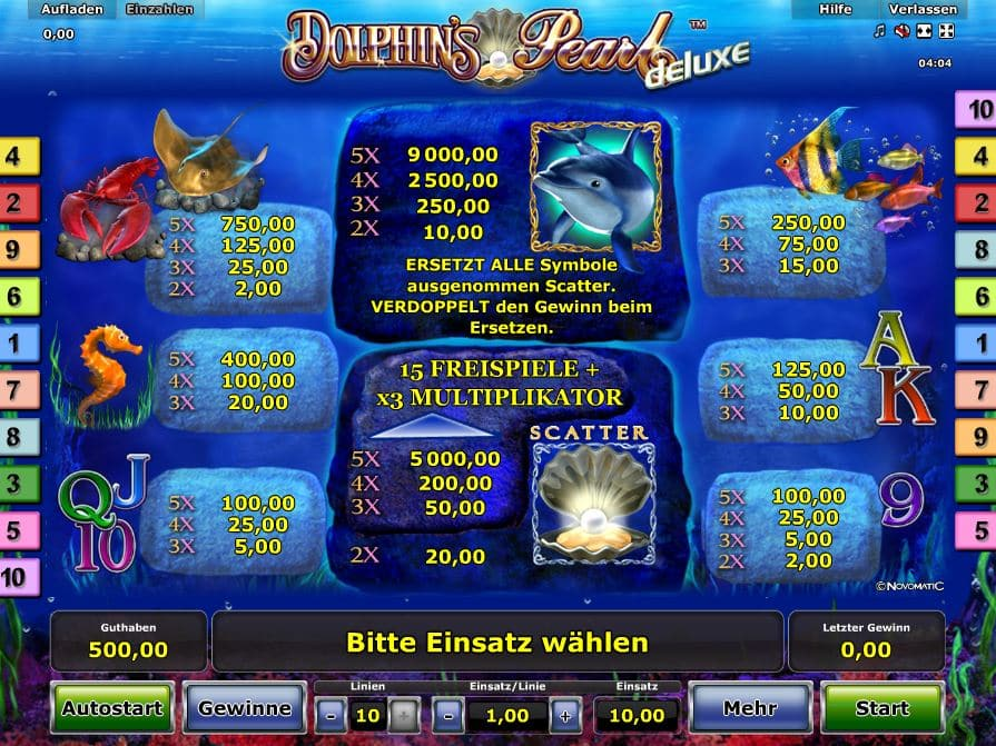 Dolphin's Pearl Deluxe Paytable