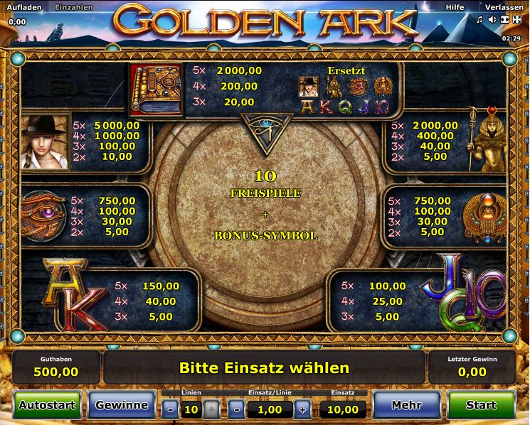 Golden Ark Paytable