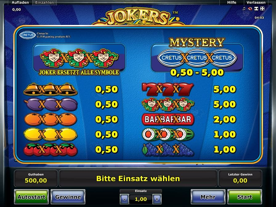 online casino table games joker casino