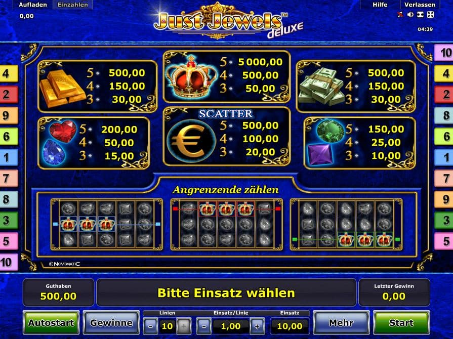 Just Jewels Deluxe Paytable