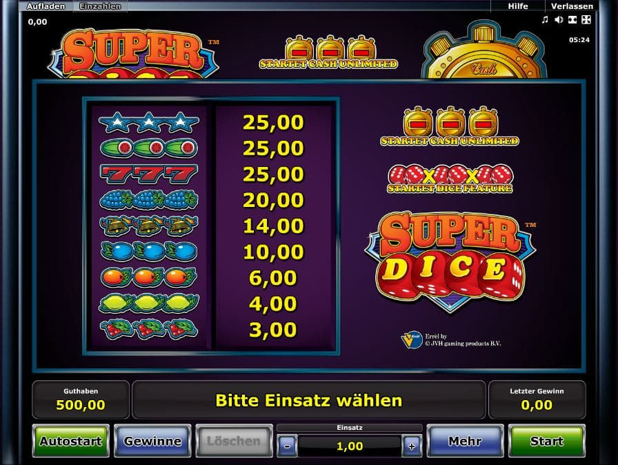 Super Dice Paytable